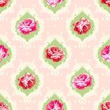 Modèle rose chic minable de damassé Photographie stock libre de droits
