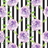 Modèle rose floral d'aquarelle peinte à la main Photos libres de droits