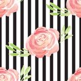 Modèle rose floral d'aquarelle peinte à la main Image libre de droits