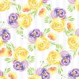 Modèle rose floral d'aquarelle peinte à la main Photographie stock