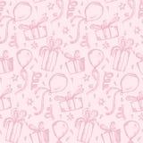 Modèle rose tendre avec des cadeaux et des ballons de croquis illustration stock