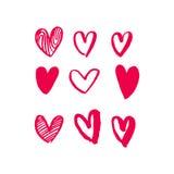 Modèle rouge d'icônes d'art de vecteur de coeurs pour le Saint Valentin Photo stock