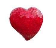 Modèle rouge de forme de coeur fait à partir du vieil acier avec le chemin de coupure Photos libres de droits