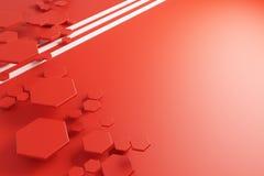 Modèle rouge de nid d'abeilles et lignes blanches illustration libre de droits