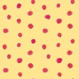 Modèle rouge de taches sur le fond jaune Photos stock