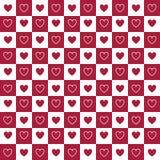 Modèle rouge et blanc sans couture de coeurs Photo stock