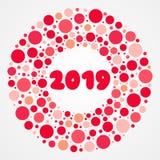 modèle rouge et rose de 2019 ans de bulles de vecteur Cadre de forme de cercle élément décoratif de conception illustration de vecteur