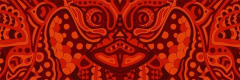 Modèle rouge rampant avec le visage laid de démons illustration de vecteur