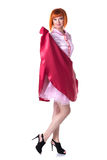 Modèle roux sexy posant dans le costume de carnaval images libres de droits