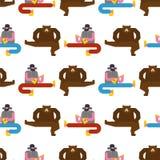 Modèle russe de danse d'homme et d'ours Groupe de musique de backg de la Russie illustration stock