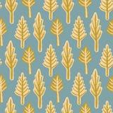 Modèle rustique de Lino Cut Texture Seamless Vector d'arbre de sapin d'hiver, forêt peu précise de pin illustration libre de droits