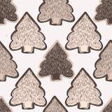 Modèle rustique de Lino Cut Texture Seamless Vector d'arbre de sapin d'hiver, peu précis illustration libre de droits