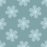 Modèle rustique de Lino Cut Texture Seamless Vector de flocon de neige d'hiver illustration libre de droits