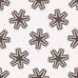 Modèle rustique de Lino Cut Texture Seamless Vector de flocon de neige d'hiver, peu précis illustration stock