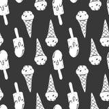 Modèle sans couture à la main dessiné par sketh simple de crème glacée dans le style de bande dessinée avec le cône, Esquimau Pou Photo libre de droits