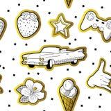 Modèle sans couture à la mode dans le bruit Art Style avec les éléments pointillés d'or Fond 80s-90s de mode de tissu avec des ét Illustration Stock