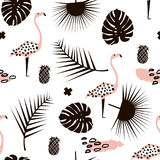 Modèle sans couture à la mode de branche de paume avec les éléments tirés par la main Feuille de Monstera, ananas, flamant Grand  illustration stock