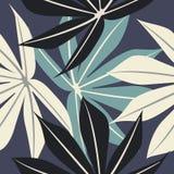 Modèle sans couture élégant avec les feuilles tropicales Photographie stock
