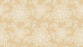 Modèle sans couture élégant de fleur blanche sur le beige illustration de vecteur
