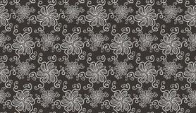 Modèle sans couture élégant de fleur blanche sur le brun illustration stock