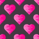 Modèle sans couture abstrait avec les coeurs géométriques plats Photos stock