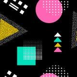 Modèle sans couture abstrait de vecteur avec des formes géométriques Rétro style de Memphis Photo stock