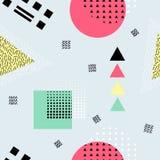 Modèle sans couture abstrait de vecteur avec des formes géométriques Rétro style de Memphis Photos stock