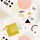 Modèle sans couture abstrait de vecteur avec des formes géométriques Rétro style de Memphis Photographie stock libre de droits