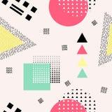 Modèle sans couture abstrait de vecteur avec des formes géométriques Rétro style de Memphis Image stock
