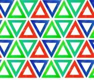 Modèle sans couture abstrait du rouge vert bleu de triangles d'aquarelle Sur un fond de blanc d'isolement illustration de vecteur