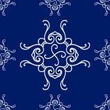 Modèle sans couture abstrait, fond d'ornement de vecteur de vintage, bleu et blanc Photo stock