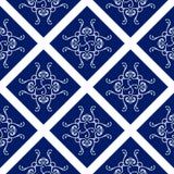 Modèle sans couture abstrait, fond d'ornement de vecteur de vintage, bleu et blanc Image stock