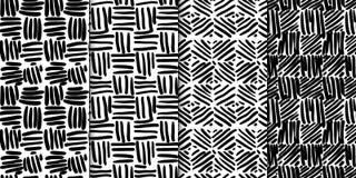 Modèle sans couture abstrait réglé avec les lignes tirées par la main Photo stock