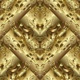 Modèle sans couture abstrait texturisé de l'or 3d Marchand de tissus d'or de vecteur Images libres de droits