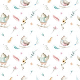 Modèle sans couture animal mignon d'oiseau de bébé, illustration de forêt pour l'habillement d'enfants Boho tiré par la main d'aq Photos stock