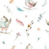 Modèle sans couture animal mignon d'oiseau de bébé, illustration de forêt pour l'habillement d'enfants Boho tiré par la main d'aq Photographie stock