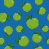 Modèle sans couture, Apple sur le fond bleu Photo libre de droits