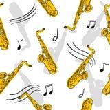 Modèle sans couture Art Design de peinture de saxophone illustration stock