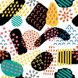 Modèle sans couture artistique abstrait Fond créatif coloré avec les formes abstraites Illustration tirée par la main de textures Photographie stock libre de droits