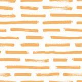 Modèle sans couture artistique avec les courses oranges de brosse sur le fond blanc Contexte décoratif avec la peinture horizonta illustration stock
