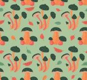 Modèle sans couture avec Autumn Leaves And Mushrooms Image stock