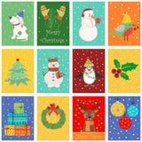 Modèle sans couture avec décorations d'hiver, de vacances de Noël et de nouvelle année caractères et Illustration de vecteur Images stock