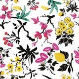 Modèle sans couture avec de belles fleurs, peinture d'aquarelle Photo libre de droits
