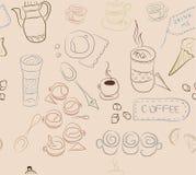 Modèle sans couture avec des éléments de café, plats de café, gâteaux, Photos stock