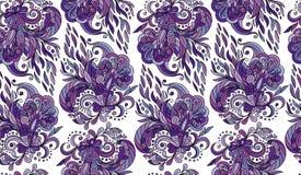 Modèle sans couture avec des éléments de mehendi Fond de vintage dans le style indien de batik Fond floral abstrait Illustration Libre de Droits