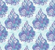 Modèle sans couture avec des éléments de mehendi Fond de vintage dans le style indien de batik Fond floral abstrait Illustration Stock