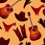 Modèle sans couture avec des éléments de musique country illustration stock