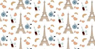 Modèle sans couture avec des éléments de Paris, bouteille de Tour Eiffel de coeur de vin et bicyclette Image libre de droits