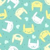 Modèle sans couture avec des émotions mignonnes de lapin Image stock
