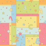 Modèle sans couture avec des étoiles, des lettres et des nombres Image libre de droits